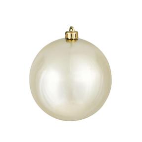 "Champagne Ball Ornaments 4"" Shiny Set of 6"