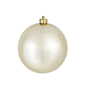 "Champagne Ball Ornaments 6"" Shiny Set of 4"