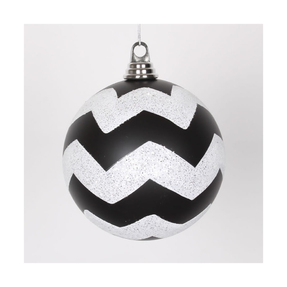 "Chevron Ball Ornament 6"" Set of 4 Black/White"