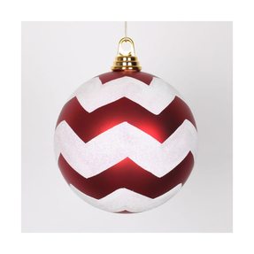 "Chevron Ball Ornament 6"" Set of 4 Peppermint"