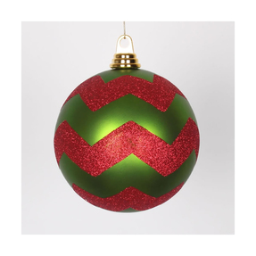 "Chevron Ball Ornament 6"" Set of 4 Lime/Red"