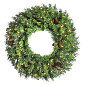 7' Cheyenne Pine Wreath w/Clear Lights