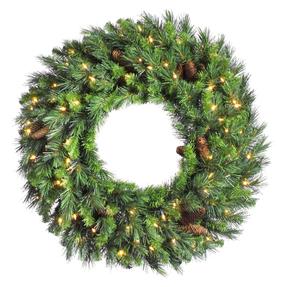 4' Cheyenne Pine Wreath w/Clear Lights