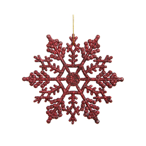 "Large Christmas Snowflake Ornament 6.25"" Set of 12 Burgundy"