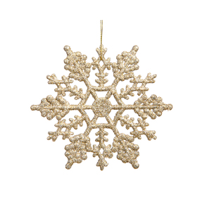"Christmas Snowflake Ornament 4"" Set of 24 Champagne"