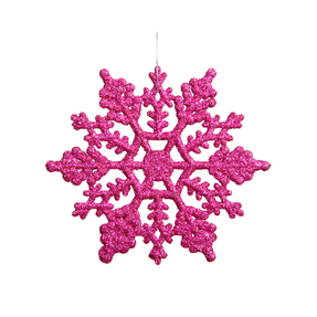 "Large Christmas Snowflake Ornament 6.25"" Set of 12 Fuchsia"