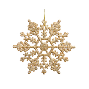 "Large Christmas Snowflake Ornament 6.25"" Set of 12 Gold"