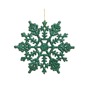 "Large Christmas Snowflake Ornament 6.25"" Set of 12 Green"