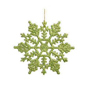 "Large Christmas Snowflake Ornament 6.25"" Set of 12 Lime"