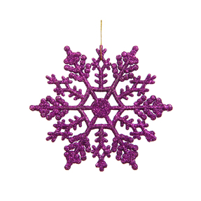 "Large Christmas Snowflake Ornament 6.25"" Set of 12 Purple"