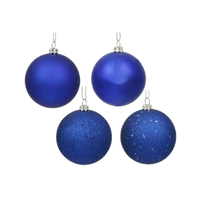 "Cobalt Ball Ornaments 10"" Assorted Finish Set of 4"
