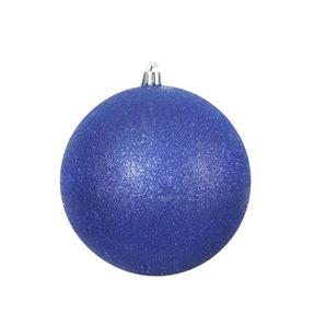 "Cobalt Ball Ornaments 12"" Glitter Set of 2"