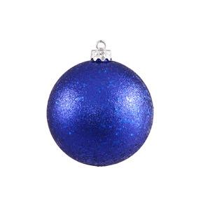 """Cobalt Ball Ornaments 4"""" Sequin Set of 6"""