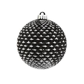 "Diamond Glitter Ball 4"" Set of 6 Black"