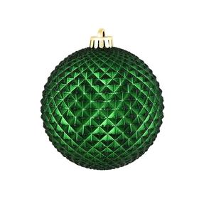 "Diamond Glitter Ball 4"" Set of 6 Emerald"