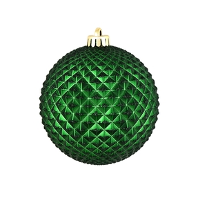 "Diamond Glitter Ball 6"" Set of 4 Emerald"
