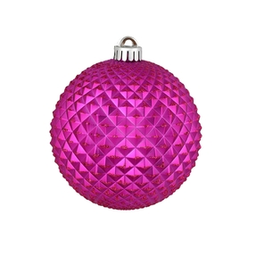 "Diamond Glitter Ball 4"" Set of 6 Fuchsia"