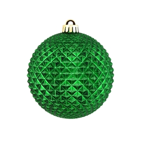 "Diamond Glitter Ball 4"" Set of 6 Green"