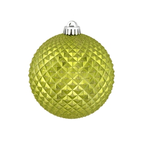 "Diamond Glitter Ball 4"" Set of 6 Lime"