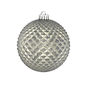 "Diamond Glitter Ball 2.75"" Set of 12 Pewter"