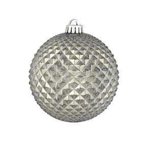 "Diamond Glitter Ball 4"" Set of 6 Pewter"