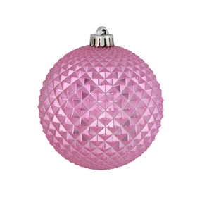 "Diamond Glitter Ball 4"" Set of 6 Pink"