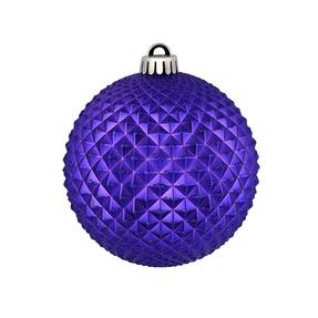 "Diamond Glitter Ball 6"" Set of 4 Purple"