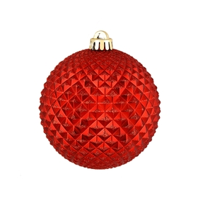 "Diamond Glitter Ball 6"" Set of 4 Red"