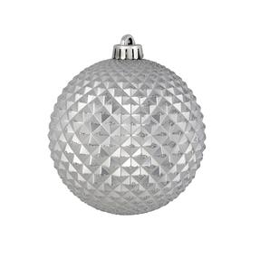 "Diamond Glitter Ball 6"" Set of 4 Silver"