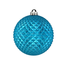 "Diamond Glitter Ball 6"" Set of 4 Turquoise"