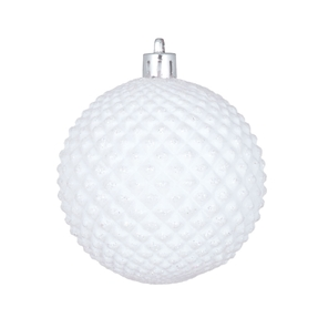 """Diamond Glitter Ball 2.75"""" Set of 12 White"""