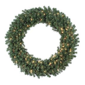 7' Douglas Fir Wreath w/Clear Lights