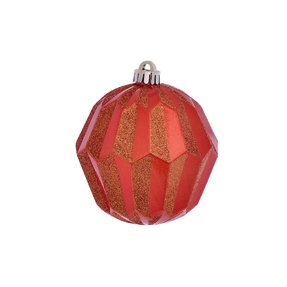 "Elara Sphere Ornament 5"" Set of 3 Burnished Orange"