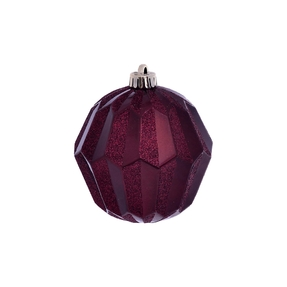 "Elara Sphere Ornament 5"" Set of 3 Burgundy"