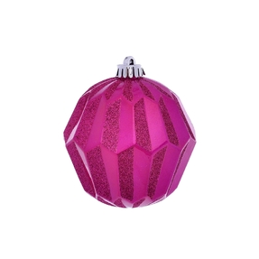 "Elara Sphere Ornament 5"" Set of 3 Fuchsia"