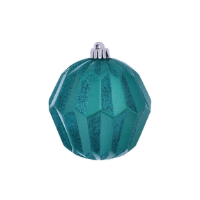"Elara Sphere Ornament 5"" Set of 3 Teal"