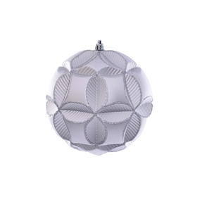 """Tokyo Sphere Ornament 6"""" Set of 2 Silver"""