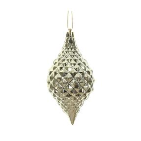 "Elvis Diamond Cut Ornament 6"" Set of 4 Champagne"