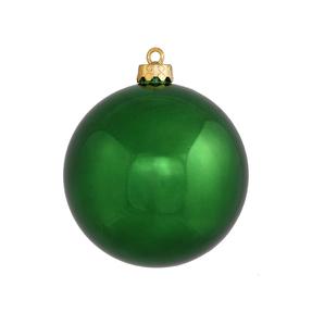 "Emerald Ball Ornaments 6"" Shiny Set of 4"