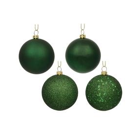 "Emerald Ball Ornaments 6"" Assorted Finish Set of 4"