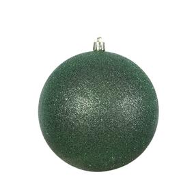 "Emerald Ball Ornaments 4"" Glitter Set of 6"