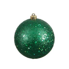 """Emerald Ball Ornaments 4"""" Sequin Set of 6"""