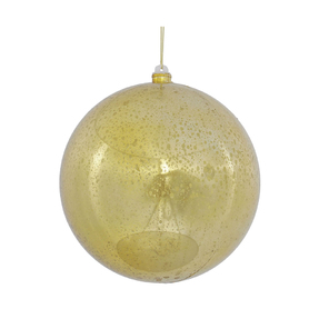 "Gold Ball Ornaments 8"" Faux Mercury Set of 2"