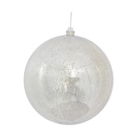 "Silver Ball Ornaments 10"" Faux Mercury Set of 2"