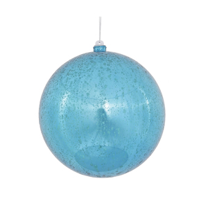 "Turquoise Ball Ornaments 8"" Faux Mercury Set of 2"