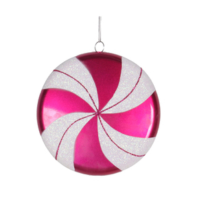 "Flat Swirl Candy Ornament 6"" Set of 2 Hot Pink"