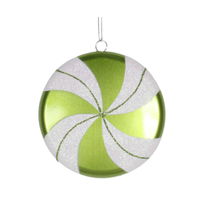 "Flat Swirl Candy Ornament 6"" Set of 2 Lime"