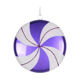 "Flat Swirl Candy Ornament 6"" Set of 2 Purple"