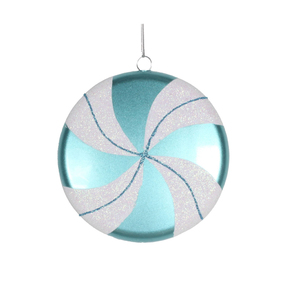 "Flat Swirl Candy Ornament 6"" Set of 2 Teal"