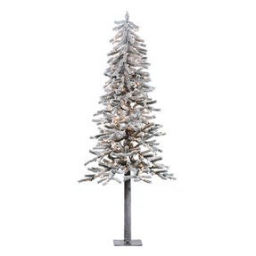 4' Flocked Alpine Tree w/Clear Lights